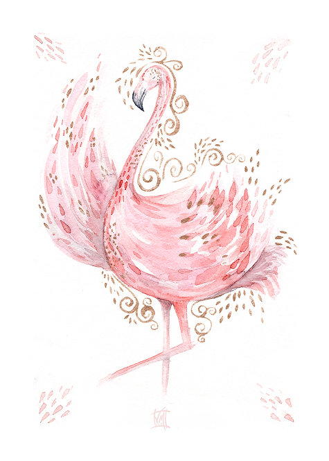 Flamingo Flamenco Art Print