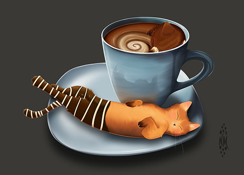 Paw-ffee and Bis-catti - Café Kitty Art Print