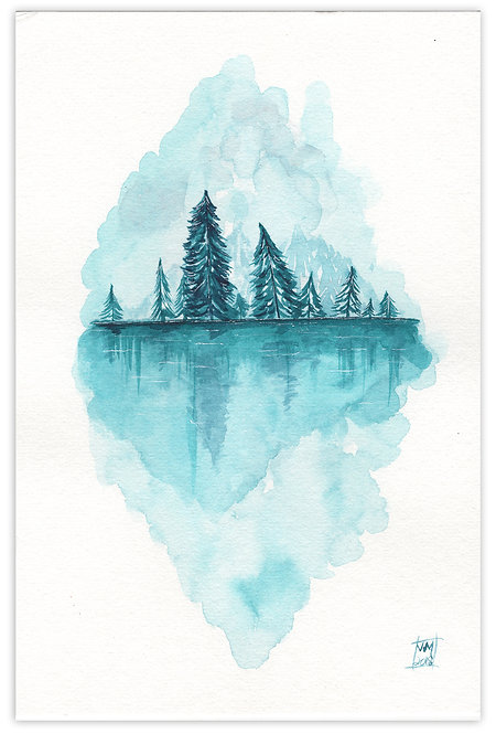 Ethereal Lake-Watercolor Painting