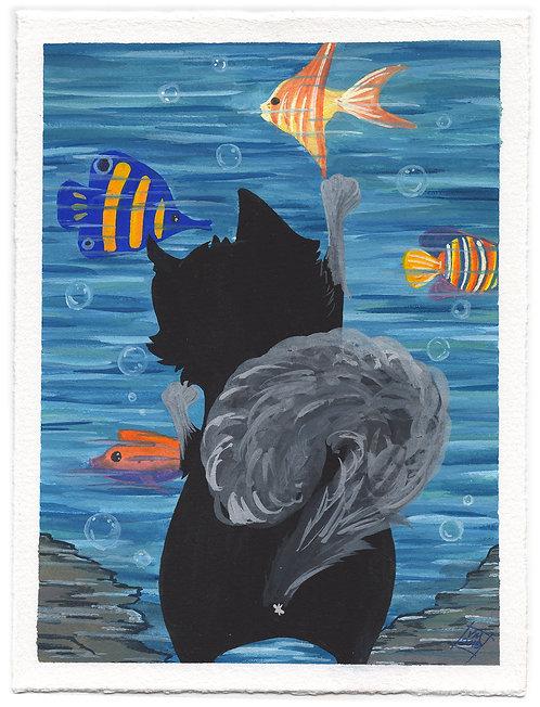 Kitty Goes to the Aquarium-Gouache Painting