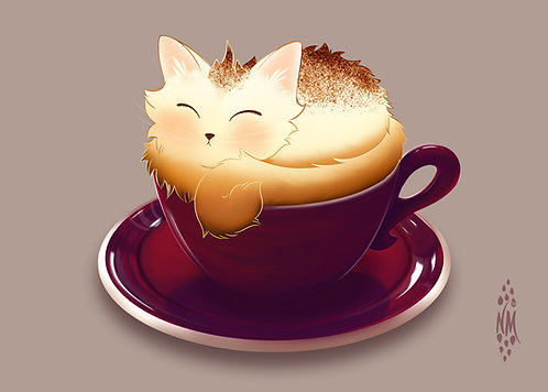 Cat-purr-ccino - Café Kitty Art Print