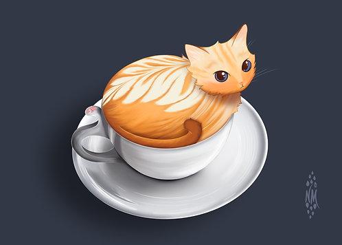 Cat-fé Latté - Café Kitty Art Print
