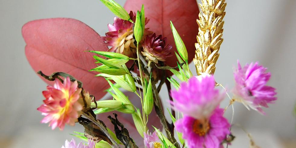 Atelier dorure sur fleurs séchées   Octobre 2020