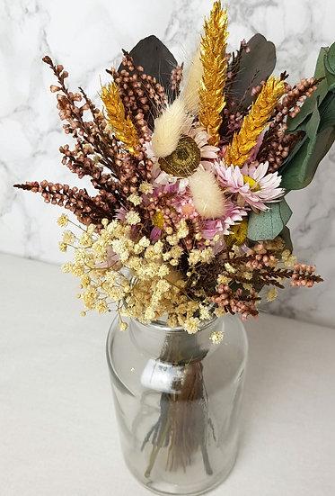 Bouquet  bruyère rose + vase