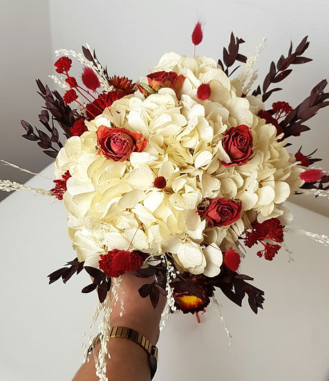 Bouquet hortensia et rouge