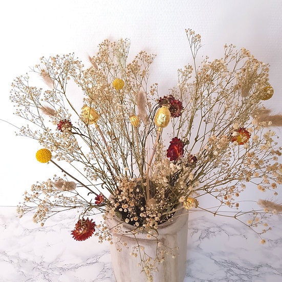 Bouquet XL pavot naturel + vase