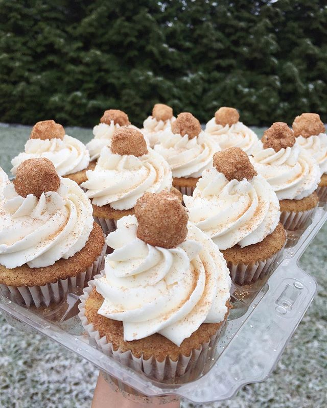 Snickerdoodle Cupcakes on a snowy Sunday morning💙🎂✨❄️ #bakedbyjordan #cake #cupcake #cakes #cupcak