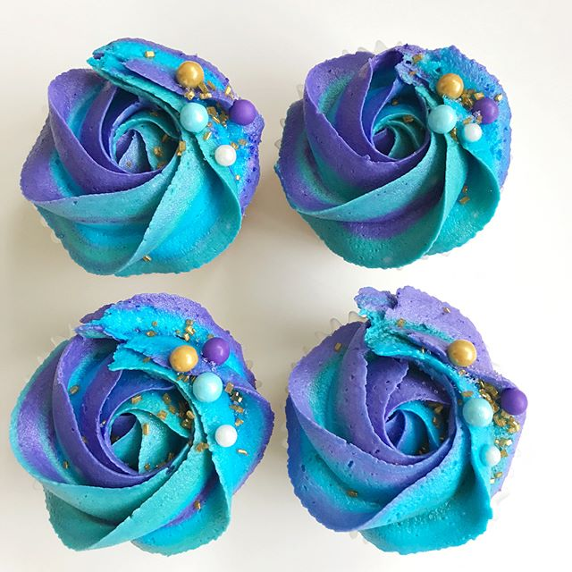 6 dozen of these mermaid inspired cupcakes for one of the sweetest girls I know celebrating her brid