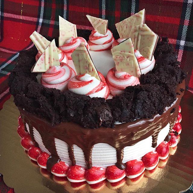 Peppermint Dark Chocolate Cake!🎄❤️✨ #cake #cupcake #bakedbyjordan #holidaybaking #instabake #instac