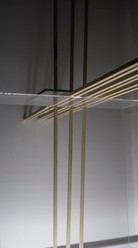 Wood sticks, Glass,  Plexiglas,  - Lighting & wooden frame -  67x67x30cm  2019