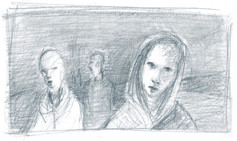 a scene inspired by  the novel Pedro Paramo by Juan Rulfo  Graphite on Paper