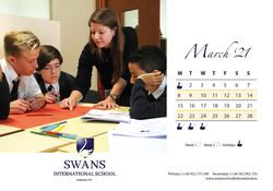 Swans School calendar March 2021