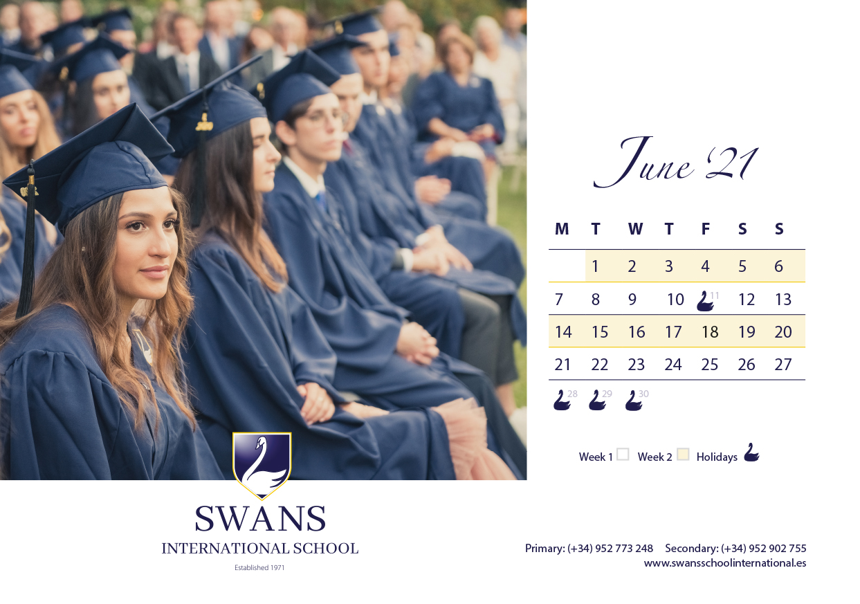 Swans School calendar July 2021