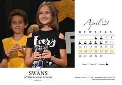 Swans School calendar April 2021