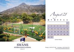Swans School calendar August 2021