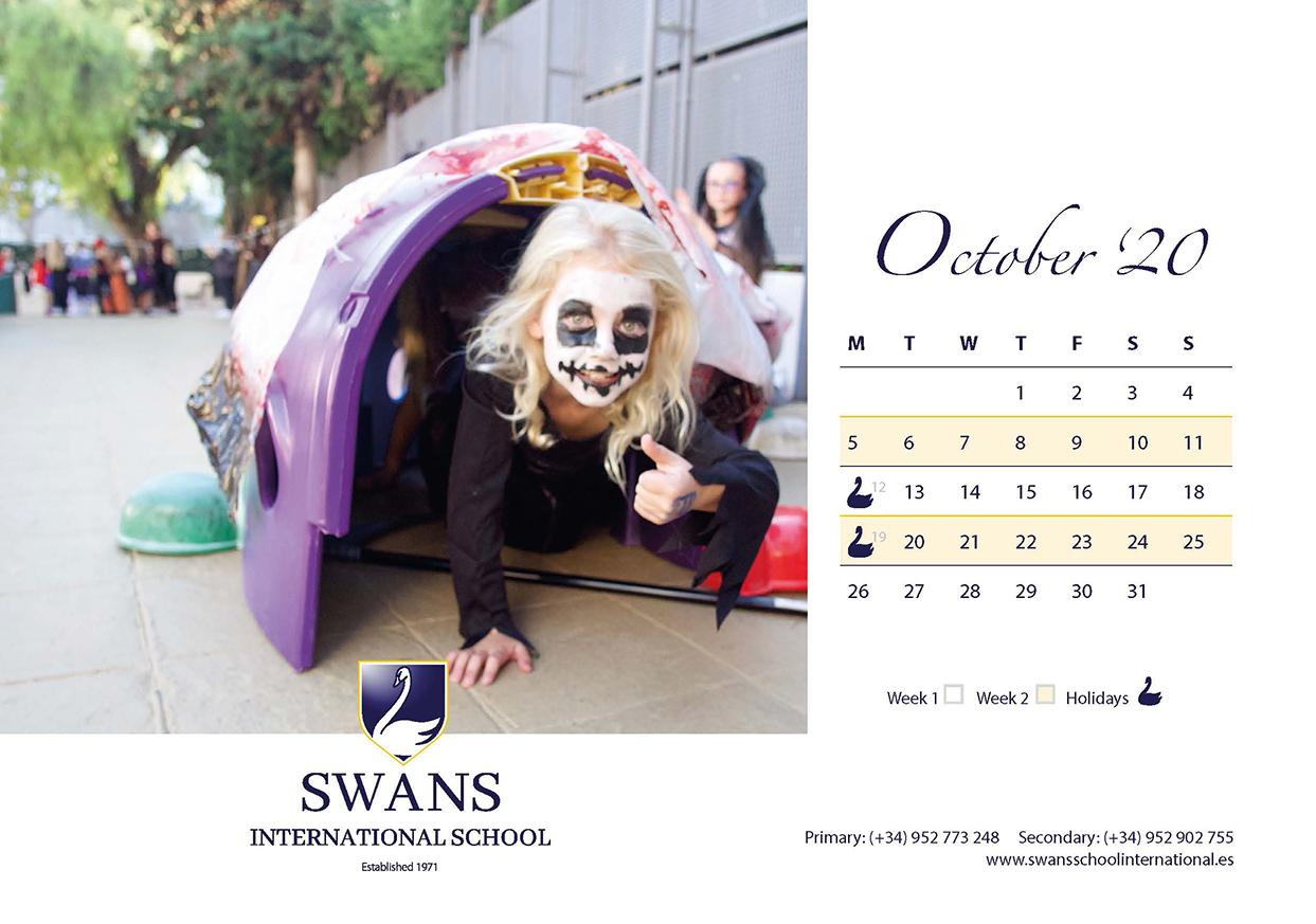 Swans School calendar October 2020