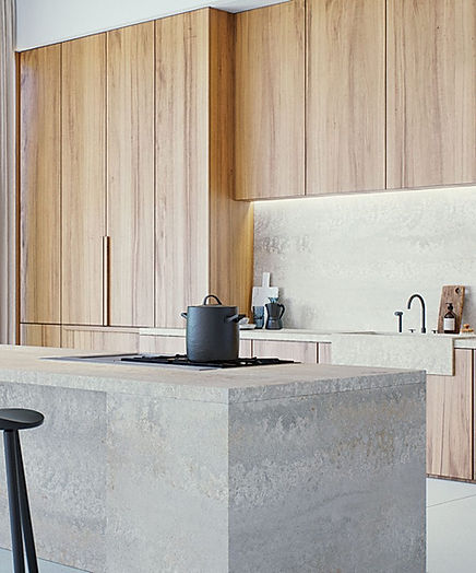 4043 Primordia engineered quartz island from £550sq m, Caesarstone, caesarstone.co.uk. For similar ash doors, try Nebraska, kitchens from £10,000, Schmidt, home design.schmidt.