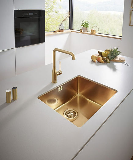 K700 undermounted stainless-steel sink in Brushed Cool Sunrise, £1,017, GROHE, grohe.co.uk.