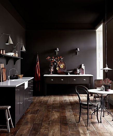 Suffolk kitchen, from £12,000, in Walnut eggshell, £54 for 2.5L; walls in Walnut matt emulsion, £38 for 2.5L, all Neptune, neptune.com.