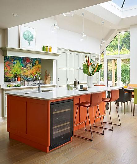 Bespoke kitchen, from £35,000, Martin Moore, martinmoore.com. Similar paint, Spanish Olive and Fiesta Orange aura eggshell, £86.50 for 3.79L, both Benjamin Moore, benjaminmoore paint.co.uk.