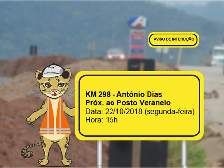 ATENÇÃO! INTERRUPÇÃO DE TRÂNSITO NESTA SEGUNDA-FEIRA (22/10)