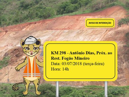 ATENÇÃO! INTERRUPÇÃO DE TRÂNSITO NA 1ª SEMANA DE JULHO (DIA 03)