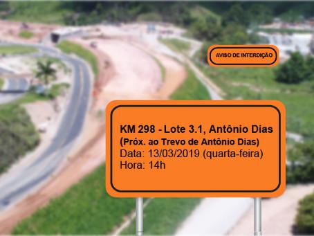 ATENÇÃO! INTERRUPÇÃO DE TRÂNSITO NO DIA 13/03