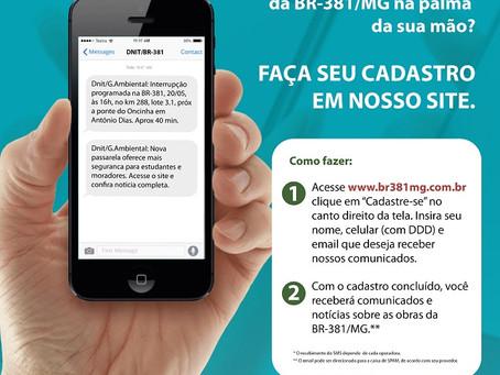 DNIT lança plataforma de comunicados das obras da BR-381/MG via SMS