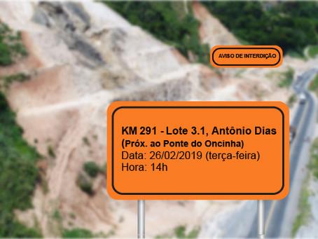 ATENÇÃO! INTERRUPÇÃO DE TRÂNSITO NO DIA 26/02