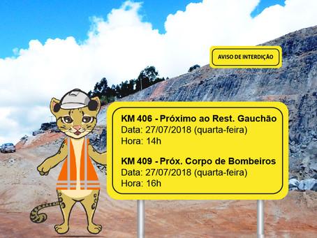 ATENÇÃO! INTERRUPÇÃO DE TRÂNSITO NESTA QUARTA-FEIRA (25/07)