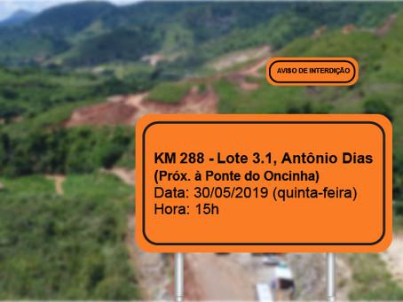 ATENÇÃO! INTERRUPÇÃO PROGRAMADA PARA O DIA 30/05