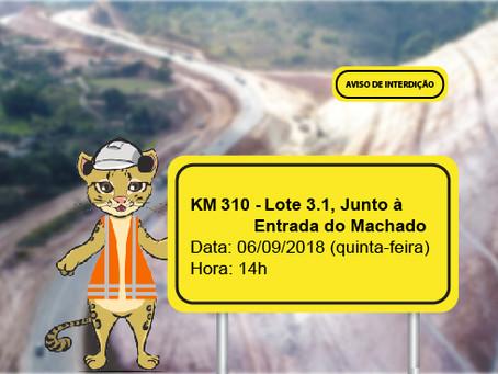 ATENÇÃO! INTERRUPÇÃO DE TRÂNSITO NESTA QUINTA-FEIRA (06/09)
