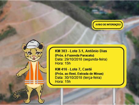 ATENÇÃO! INTERRUPÇÕES DE TRÂNSITO NA QUINTA SEMANA DE OUTUBRO