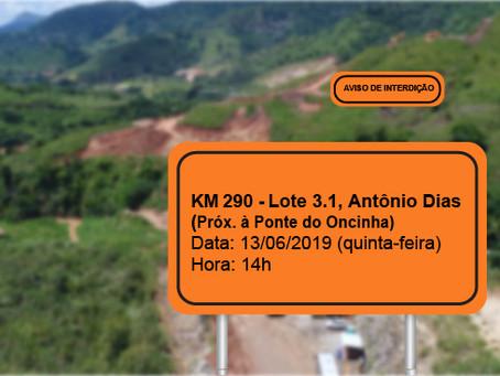 ATENÇÃO! INTERRUPÇÃO PROGRAMADA PARA O DIA 13/06