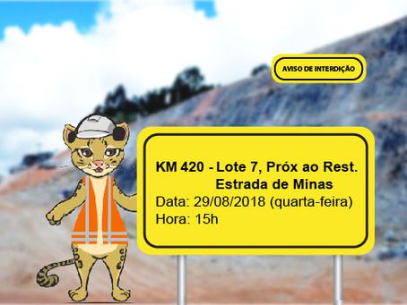 ATENÇÃO! ATIVIDADES NA RODOVIA NESTA QUARTA-FEIRA (29/08)