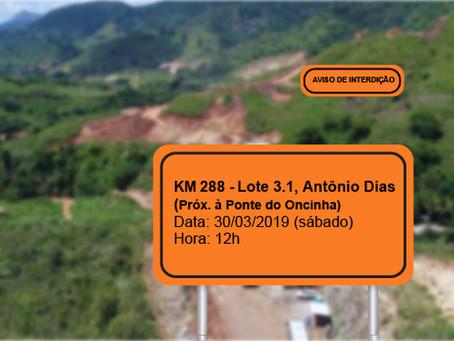 ATENÇÃO! INTERRUPÇÃO DE TRÂNSITO PROGRAMADA PARA 30/03