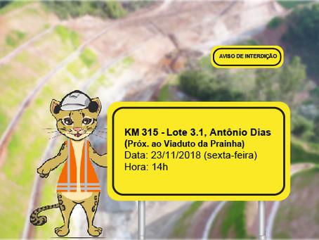 ATENÇÃO! INTERRUPÇÃO DE TRÂNSITO NO DIA 23/11