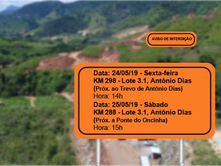 ATENÇÃO! INTERRUPÇÃO PROGRAMADA PARA OS DIAS 24 E 25/05