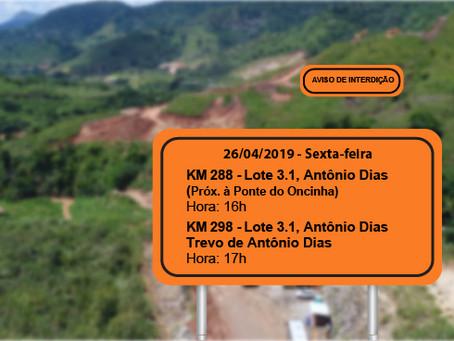 ATENÇÃO! INTERRUPÇÕES PROGRAMADAS PARA 26/04