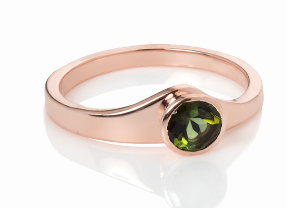 gold tf ring with green tourmaline