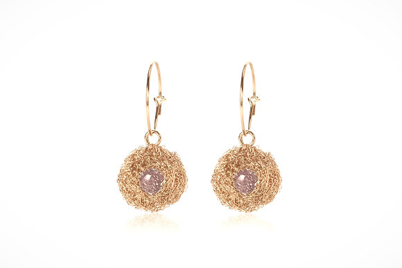 pod earrings in gold vermeil with rose quartz