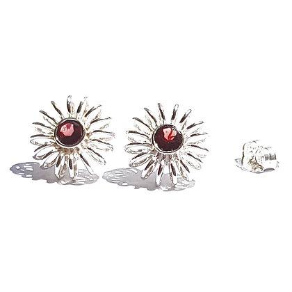 winter earrings with garnet