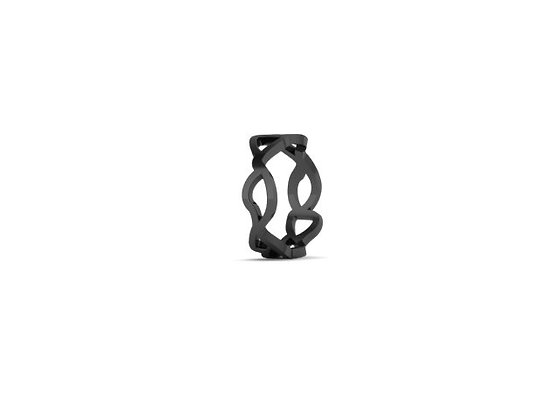 slim embroidery ring in oxidised silver
