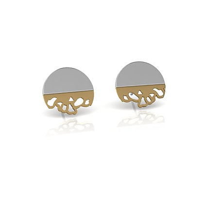 wide embroidery stud earrings - gold