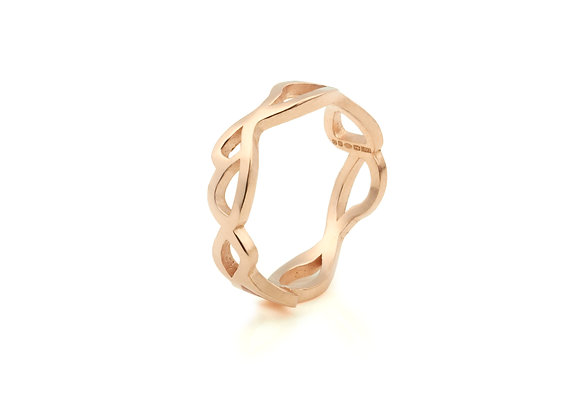 slim embroidery ring in 9ct rose gold