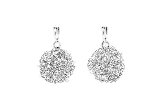 disc earrings in fine silver