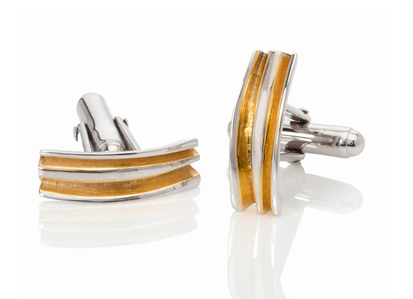 fold cufflinks with 18ct gold vermeil