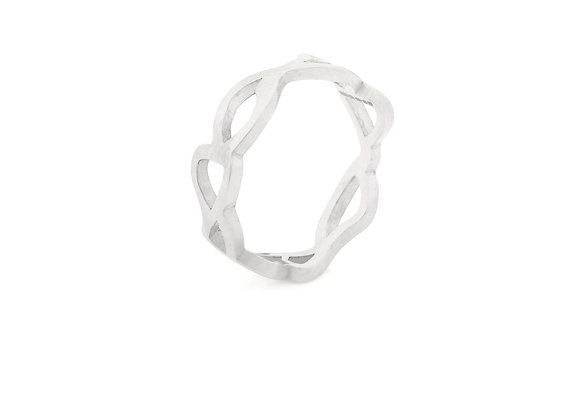 slim embroidery ring in sterling silver