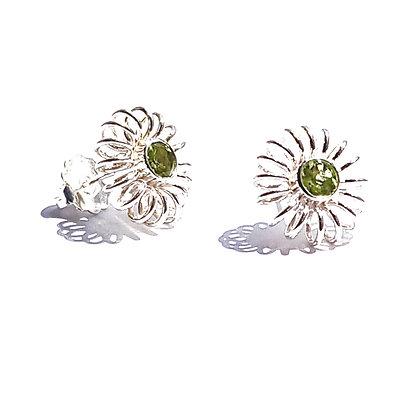 winter earrings with peridots