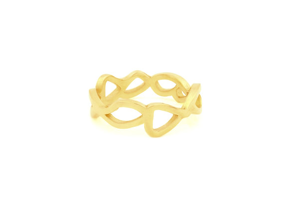 slim embroidery ring in 9ct yellow gold